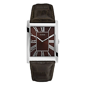 Guess Men's Brown Leather Strap Watch - Product number 9008187