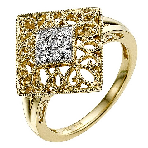 Sattva 18ct Yellow Gold 0.15 Carat Diamond Ring