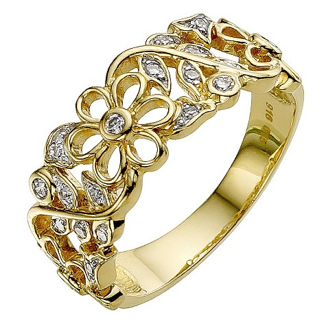 Sattva 22ct Yellow Gold 0.15 Carat Diamond Ring