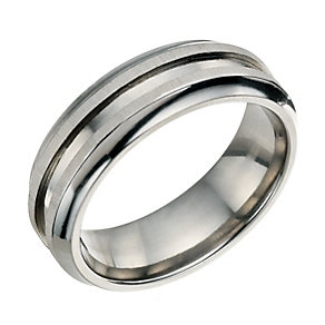 Titanium Matt & Polished Groove Ring - Product number 9010505