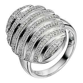 Large Silver & Diamond Oval Ring - Product number 9012389