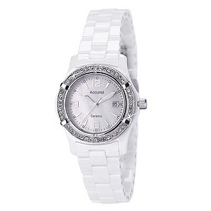 Accurist White Ceramic Bracelet Watch