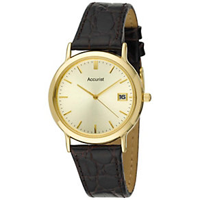 Accurist Men's Black Leather Strap Watch - Product number 9012915