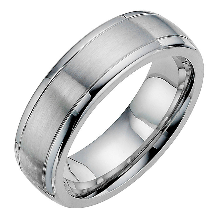 cobalt satin polished 7mm wedding band ernest jones