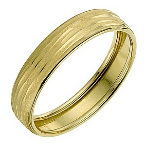 9ct Yellow Gold Groove Matt