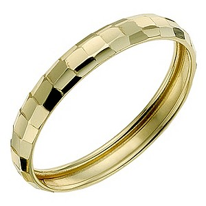 9ct Yellow Gold Faceted Ring