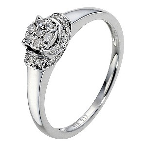 9ct White Gold 1/6 Carat Diamond Cluster Ring