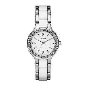 DKNY ladies' stainless steel & white ceramic bracelet watch - Product number 9019065