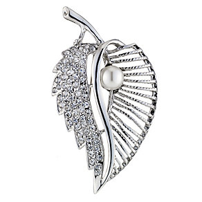 Crystal Pearl Effect Leaf Brooch - Product number 9019952