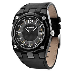 Police Men's Black Leather Strap Watch - Product number 9020098