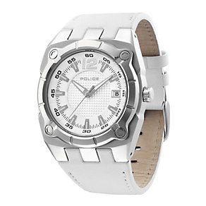 Police Men's White Leather Strap Watch - Product number 9020101