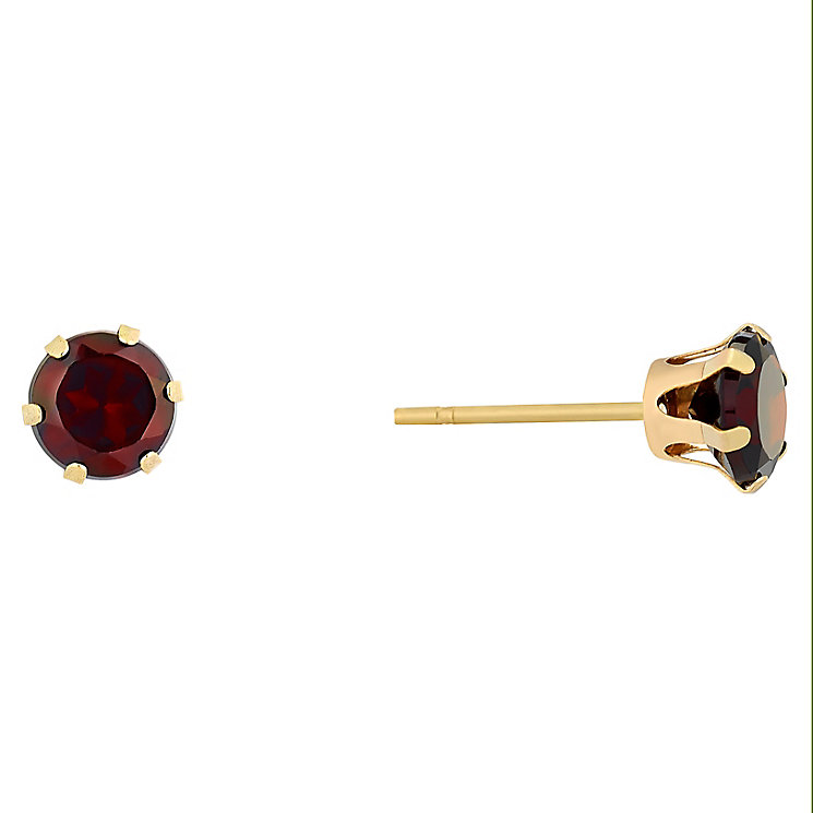9ct Yellow Gold Garnet Stud Earrings - Product number 9020462