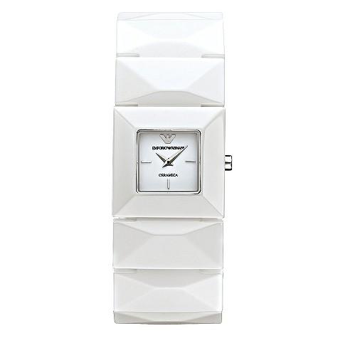 Emporio Armani white ceramic bracelet watch