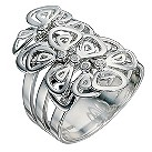 Silver & diamond layered flower ring - Product number 9027211