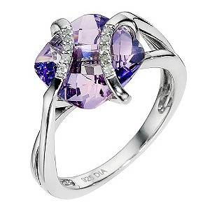 Silver diamond & amethyst ring - Product number 9027874