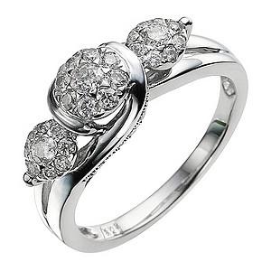9ct White Gold 1/2 Carat Diamond Cluster Ring