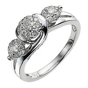9ct White Gold 1/2 Carat Diamond Cluster Ring - Product number 9028943