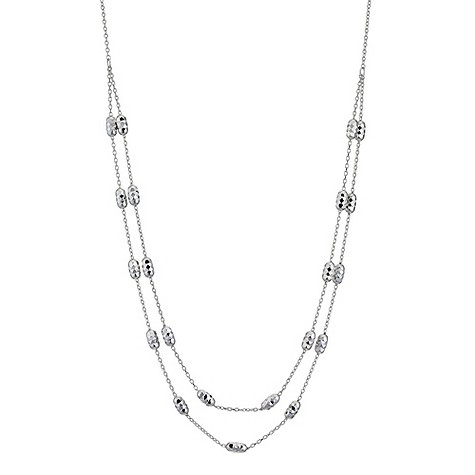 9ct white gold diamond cut layer necklace