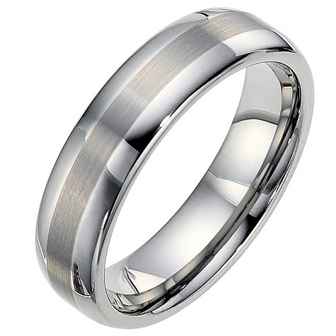 Tungsten two tone strip ring