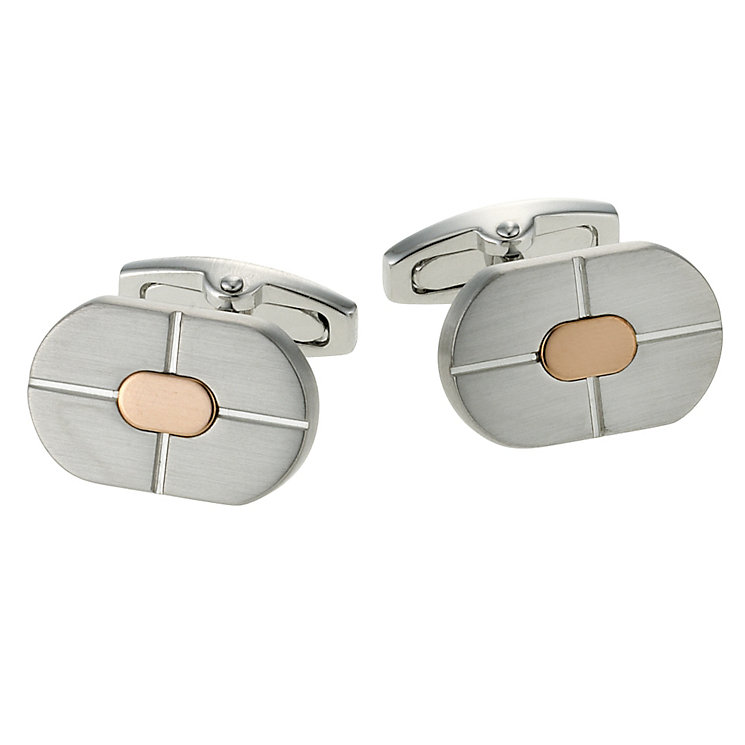 Gaventa men's silver & rose coloured oval cufflinks - Product number 9033718