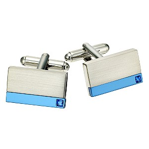 Men's Steel & Blue Plate Cufflinks - Product number 9033904