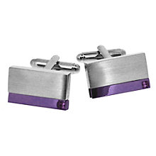 Men's Steel & Purple Plate Cufflinks - Product number 9033912