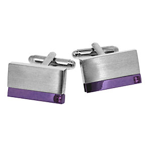 Men's Steel & Purple Plate Cufflinks - Product number 9033912