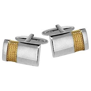H Samuel Mens Gold Plated Textured Steel Cufflinks