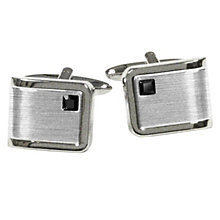 Men's Brushed & Polished Steel Black Stone Cufflinks - Product number 9033971