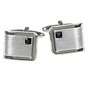 Men's Brushed & Polished Steel Black Stone Cufflinks - Product number 9033971