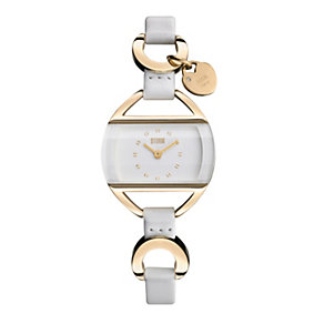 Storm Ladies' Gold-Plated & White strap watch - Product number 9034706