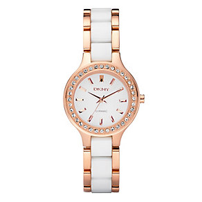 DKNY Ladies' Stone Set Ceramic Bracelet Watch - Product number 9036539