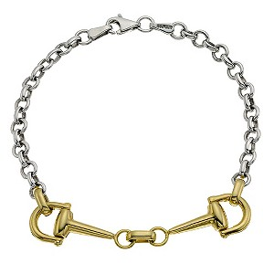H Samuel 9ct Yellow Gold and Silver Horsebit Bracelet product image