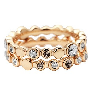 DKNY Gold Plated Stone Set Stacker Ring Set