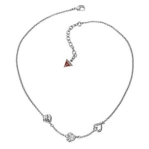 Guess 3 Heart Station Necklace