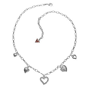 Guess Multi Heart Charm Necklace