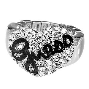 Guess Pave Heart Ring