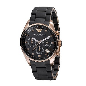 Exclusive Emporio Armani black & rose gold plated watch - Product number 9044760