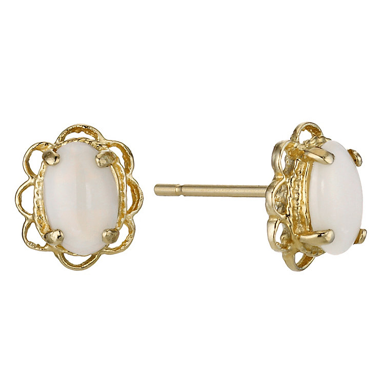 9ct Yellow Gold Opal Filagree Stud Earrings - Product number 9049673
