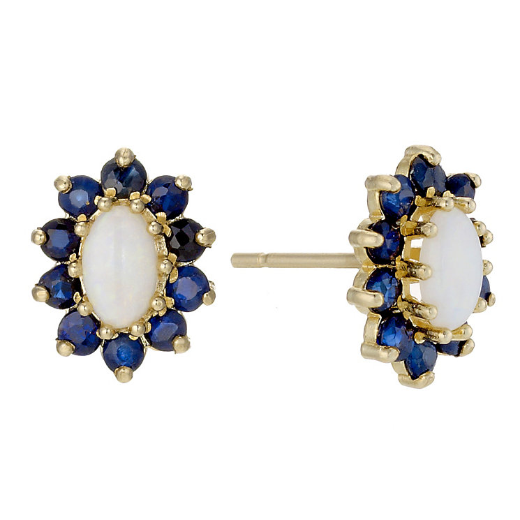 9ct Yellow Gold Opal & Sapphire Stud Earrings