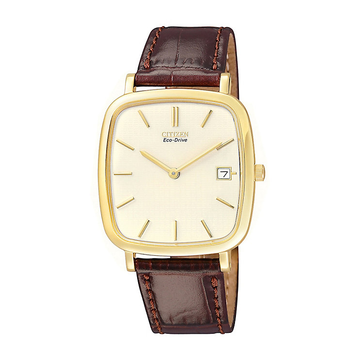 Citizen Eco-Drive Men's Brown Leather Strap Watch - Product number 9054618