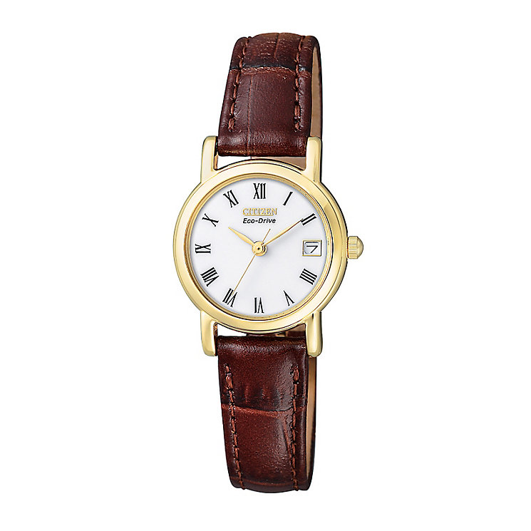 Citizen Eco-Drive Ladies' Brown Leather Strap Watch - Product number 9054626