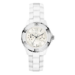 Gc Ladies' white ceramic & stainless steel bracelet watch - Product number 9055401