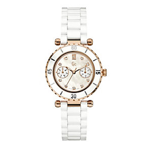 Gc ladies' rose gold plated & white ceramic bracelet watch - Product number 9055525