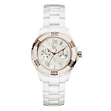Gc ladies' diamond & white ceramic rose gold plated watch - Product number 9055568