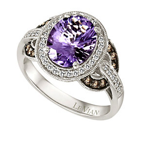 Le Vian 14ct Vanilla Gold diamond & amethyst ring - Product number 9056696