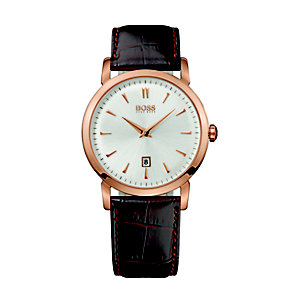 Hugo Boss men's rose gold plated strap watch - Product number 9064400