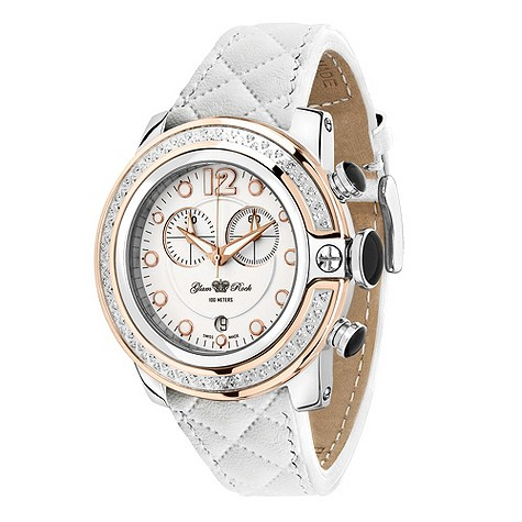 Glam Rock white quilted strap watch