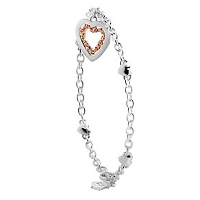 Clogau Silver & Rose Gold Heart Charm Bracelet - Product number 9069984