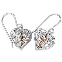 Clogau Silver & Rose Gold Heart & Fairy Earrings - Product number 9070028